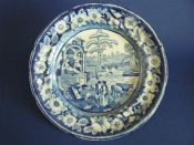 Staffordshire Pearlware Dinner Plate - The Philosopher c1830